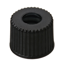 8mm PP Screw Cap, black, centre hole, 8-425 thread, 100 pcs.