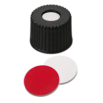 UltraClean Closure: 8mm PP Screw Cap, black, centre hole, 8-
