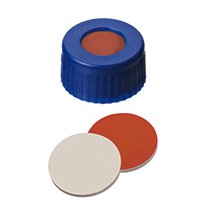 9mm Combination Seal: PP Short Thread Cap, blue, with centre